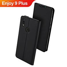 Coque Portefeuille Livre Cuir Etui Clapet pour Huawei Enjoy 9 Plus Noir