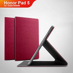 Coque Portefeuille Livre Cuir Etui Clapet pour Huawei Honor Pad 5 10.1 AGS2-W09HN AGS2-AL00HN Rouge