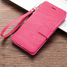 Coque Portefeuille Livre Cuir Etui Clapet pour Huawei Honor Play 8A Rose Rouge