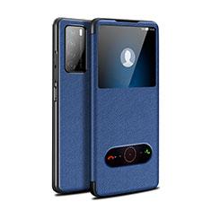 Coque Portefeuille Livre Cuir Etui Clapet pour Huawei Honor Play4 5G Bleu