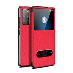 Coque Portefeuille Livre Cuir Etui Clapet pour Huawei Honor Play4 Pro 5G Rouge