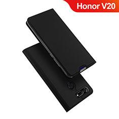 Coque Portefeuille Livre Cuir Etui Clapet pour Huawei Honor V20 Noir