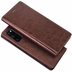 Coque Portefeuille Livre Cuir Etui Clapet pour Huawei Honor View 30 Pro 5G Marron