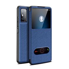 Coque Portefeuille Livre Cuir Etui Clapet pour Huawei Honor X10 Max 5G Bleu