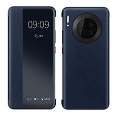 Coque Portefeuille Livre Cuir Etui Clapet pour Huawei Mate 30E Pro 5G Bleu