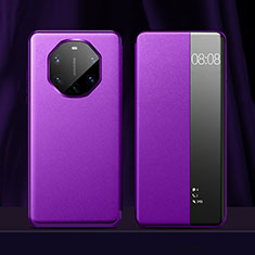 Coque Portefeuille Livre Cuir Etui Clapet pour Huawei Mate 40 RS Violet