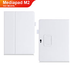 Coque Portefeuille Livre Cuir Etui Clapet pour Huawei MediaPad M2 10.0 M2-A10L Blanc
