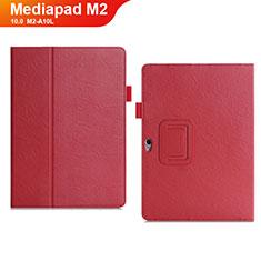 Coque Portefeuille Livre Cuir Etui Clapet pour Huawei MediaPad M2 10.0 M2-A10L Rouge