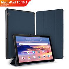 Coque Portefeuille Livre Cuir Etui Clapet pour Huawei MediaPad T5 10.1 AGS2-W09 Bleu