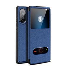 Coque Portefeuille Livre Cuir Etui Clapet pour Huawei Nova 8 5G Bleu