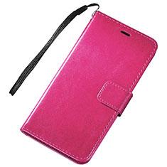 Coque Portefeuille Livre Cuir Etui Clapet pour Huawei P Smart (2019) Rose Rouge