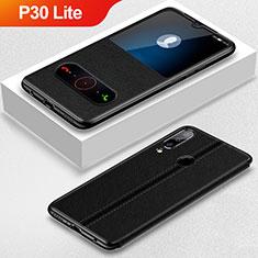 Coque Portefeuille Livre Cuir Etui Clapet pour Huawei P30 Lite Noir