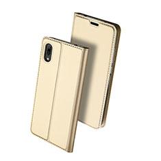 Coque Portefeuille Livre Cuir Etui Clapet pour Huawei Y7 Prime (2019) Or