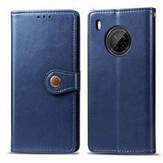 Coque Portefeuille Livre Cuir Etui Clapet pour Huawei Y9a Bleu
