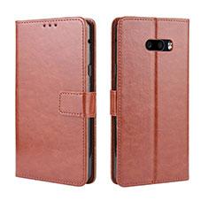 Coque Portefeuille Livre Cuir Etui Clapet pour LG G8X ThinQ Marron