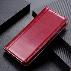 Coque Portefeuille Livre Cuir Etui Clapet pour LG Velvet 4G Vin Rouge