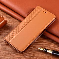 Coque Portefeuille Livre Cuir Etui Clapet pour Motorola Moto E7 Plus Orange