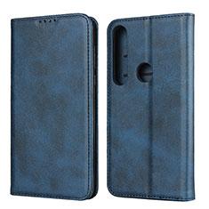 Coque Portefeuille Livre Cuir Etui Clapet pour Motorola Moto G8 Plus Bleu