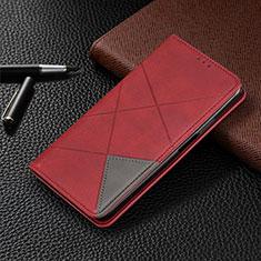 Coque Portefeuille Livre Cuir Etui Clapet pour Motorola Moto One Zoom Rouge