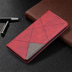 Coque Portefeuille Livre Cuir Etui Clapet pour Nokia 3.4 Rouge