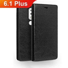 Coque Portefeuille Livre Cuir Etui Clapet pour Nokia 6.1 Plus Noir