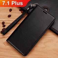 Coque Portefeuille Livre Cuir Etui Clapet pour Nokia 7.1 Plus Noir