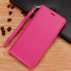 Coque Portefeuille Livre Cuir Etui Clapet pour Nokia 7.1 Plus Rose Rouge