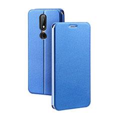 Coque Portefeuille Livre Cuir Etui Clapet pour Nokia X5 Bleu