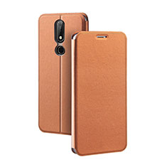 Coque Portefeuille Livre Cuir Etui Clapet pour Nokia X5 Marron