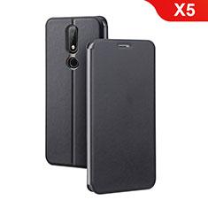 Coque Portefeuille Livre Cuir Etui Clapet pour Nokia X5 Noir