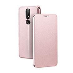 Coque Portefeuille Livre Cuir Etui Clapet pour Nokia X5 Or Rose