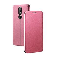 Coque Portefeuille Livre Cuir Etui Clapet pour Nokia X5 Rouge