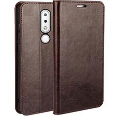 Coque Portefeuille Livre Cuir Etui Clapet pour Nokia X6 Marron