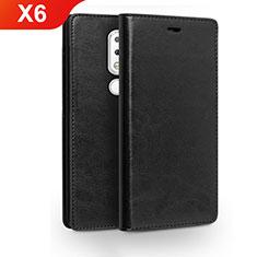 Coque Portefeuille Livre Cuir Etui Clapet pour Nokia X6 Noir