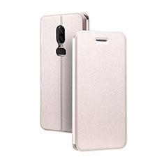 Coque Portefeuille Livre Cuir Etui Clapet pour OnePlus 6 Or Rose