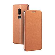 Coque Portefeuille Livre Cuir Etui Clapet pour OnePlus 6 Orange