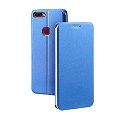 Coque Portefeuille Livre Cuir Etui Clapet pour Oppo A7 Bleu