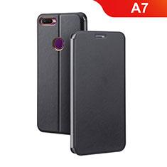 Coque Portefeuille Livre Cuir Etui Clapet pour Oppo A7 Noir
