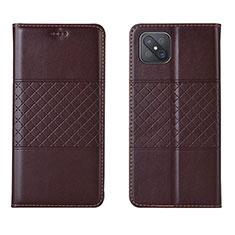 Coque Portefeuille Livre Cuir Etui Clapet pour Oppo A92s 5G Marron