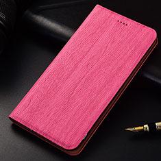 Coque Portefeuille Livre Cuir Etui Clapet pour Oppo Find X Rose Rouge