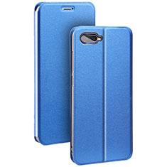 Coque Portefeuille Livre Cuir Etui Clapet pour Oppo R17 Neo Bleu