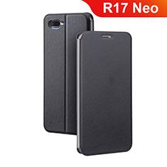 Coque Portefeuille Livre Cuir Etui Clapet pour Oppo R17 Neo Noir