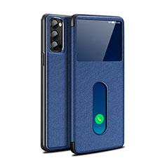 Coque Portefeuille Livre Cuir Etui Clapet pour Oppo Reno4 Pro 5G Bleu