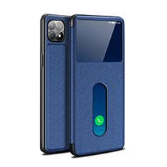 Coque Portefeuille Livre Cuir Etui Clapet pour Oppo Reno4 SE 5G Bleu
