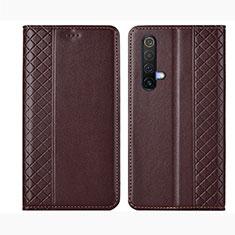 Coque Portefeuille Livre Cuir Etui Clapet pour Realme X50m 5G Marron