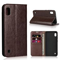 Coque Portefeuille Livre Cuir Etui Clapet pour Samsung Galaxy A10 Marron