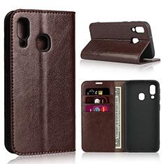 Coque Portefeuille Livre Cuir Etui Clapet pour Samsung Galaxy A40 Marron