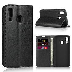 Coque Portefeuille Livre Cuir Etui Clapet pour Samsung Galaxy A40 Noir