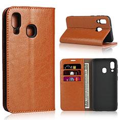 Coque Portefeuille Livre Cuir Etui Clapet pour Samsung Galaxy A40 Orange