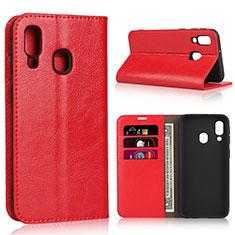 Coque Portefeuille Livre Cuir Etui Clapet pour Samsung Galaxy A40 Rouge